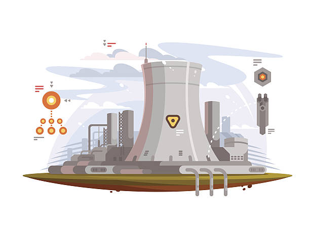 illustrazioni stock, clip art, cartoni animati e icone di tendenza di powerful nuclear reactor - reattore nucleare