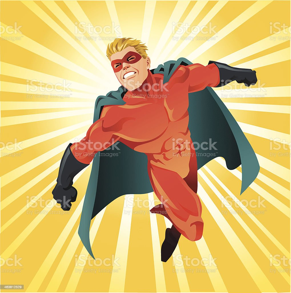 Powerful Superhero Flying vector art illustration