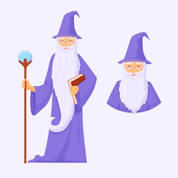 Powerful war mage avatar. Wizard is connoisseur of arcane magic with long gray beard. Powerful war mage avatar. Wizard is connoisseur of arcane magic with long gray beard blue robe with staff crystal power powerful energy creation and destruction fantasy cartoon vector. arcane stock illustrations
