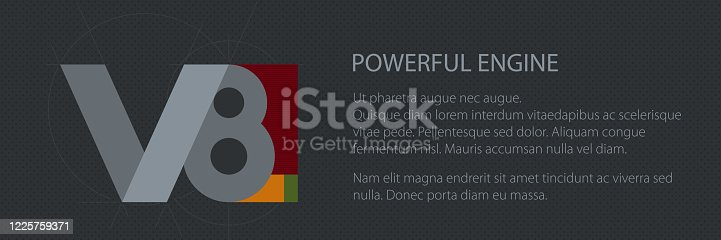 V8 powerfull engine, technology car banner, vector illustration
