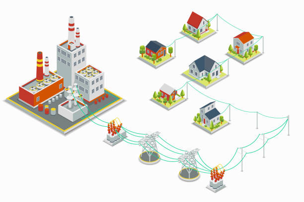 stockillustraties, clipart, cartoons en iconen met powerhouse and electric energy distribution vector infographic. 3d isometric concept - hoogspanningstransformator