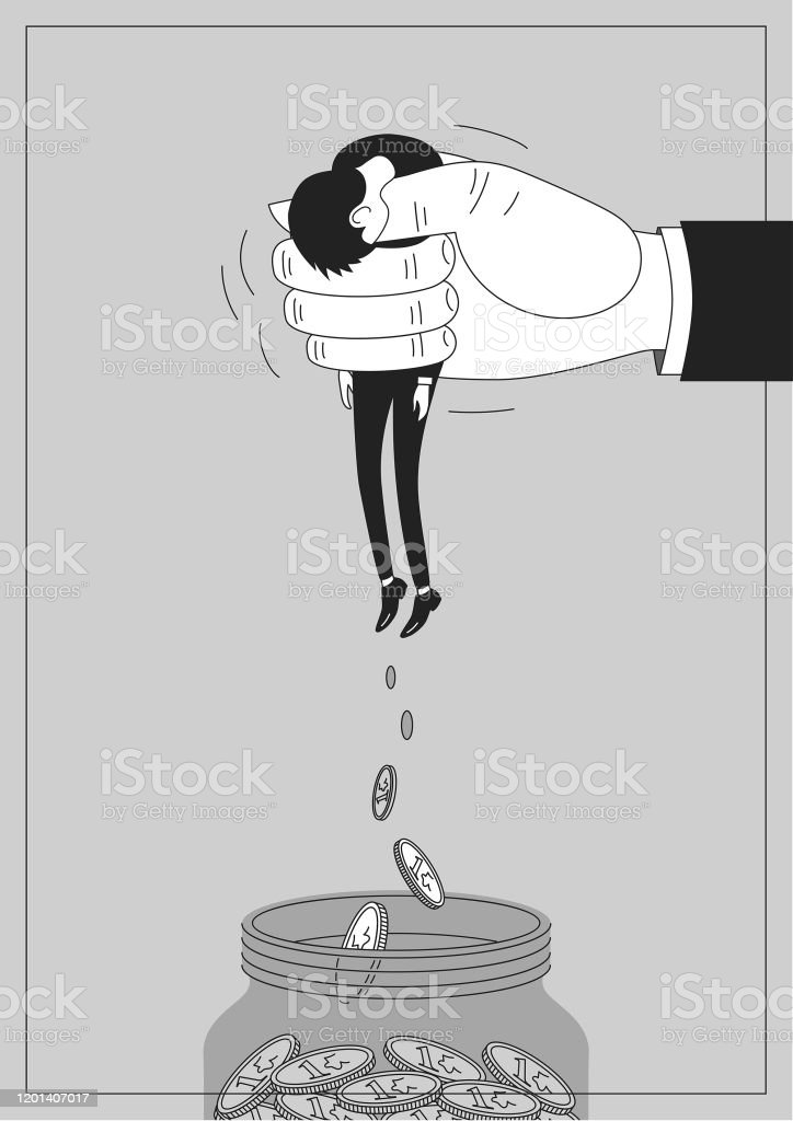 Powerless Used Squeezed Powerless Employee or Businessman Poster - Royalty-free Adult stock vector
