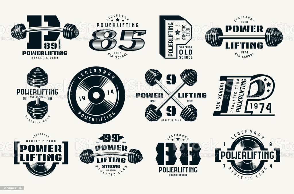 Powerlifting emblems and badges vector art illustration