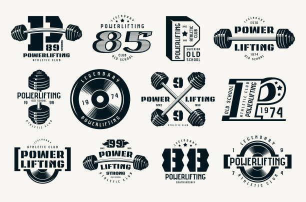 Powerlifting emblems and badges Powerlifting emblems and badges. Graphic design for t-shirt. Black print on white background weight stock illustrations