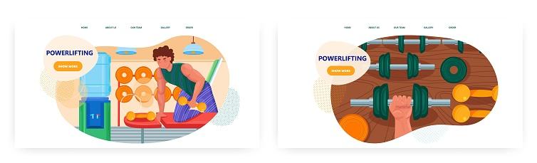 Powerlifting landing page design, website banner vector template set. Weightlifting, bodybuilding, strength gym workout.