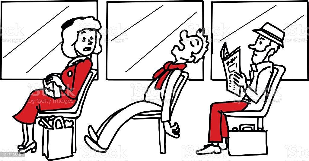 Powernap in public transportation – Vektorgrafik