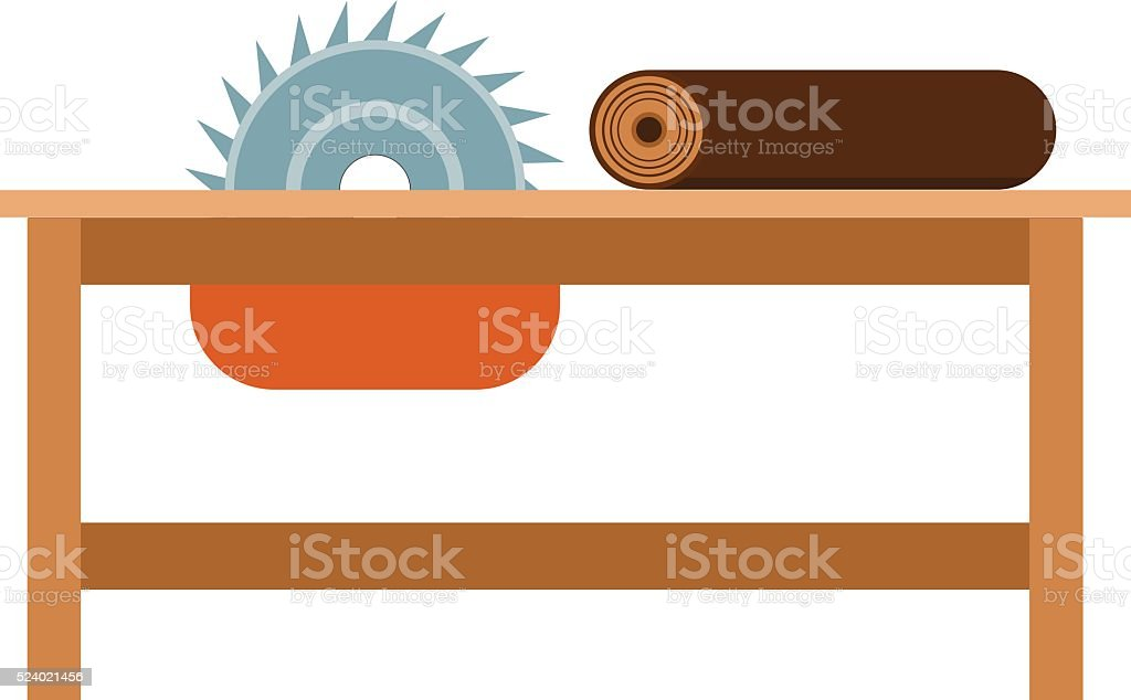 Power-saw bench icon industry tool equipment work steel construction vector art illustration