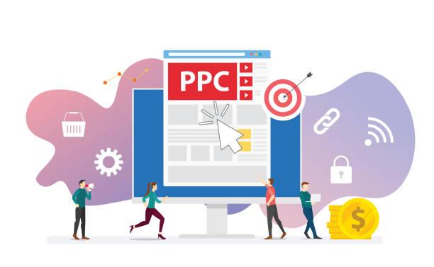 ilustrações de stock, clip art, desenhos animados e ícones de ppc pay per click technology advertising or advertisement concept with team people and clicks icon modern flat style - vector - inbound marketing