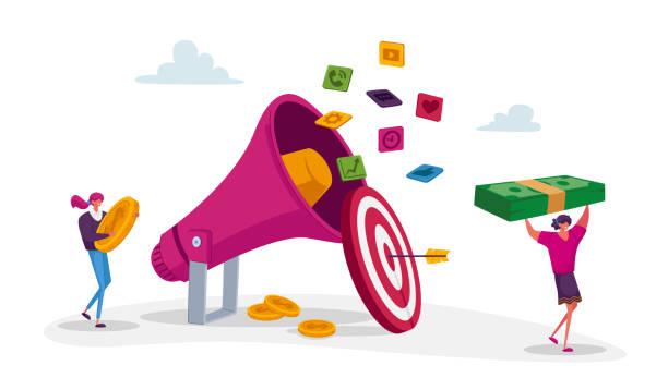 prエージェンシーデジタルマーケティング。小さなキャラクターは巨大なメガホン、コミュニケーション、アラート広告、プロパガンダで動作します - communication tool点のイラスト素材/クリップアート素材/マンガ素材/アイコン素材