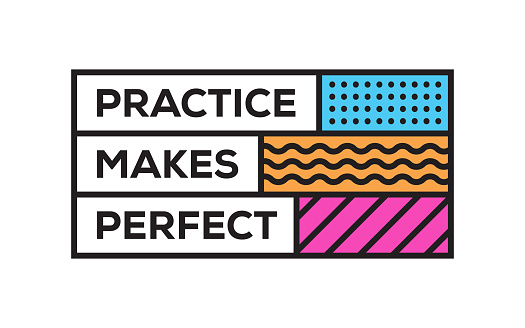 Practice Makes Perfect. Inspiring Creative Motivation Quote Template. Vector Typography - Illustration