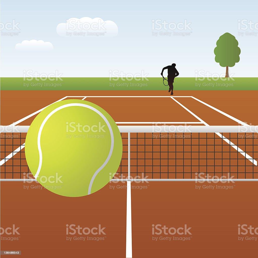 A practice round of tennis begins vector art illustration