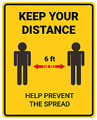 Infographic design keeping space or distance from other people
