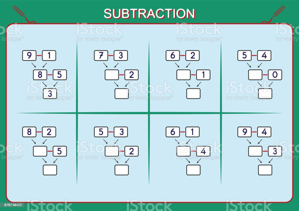 Practice Your Subtraction 0 To 10 Math Worksheet For Kids stock ...