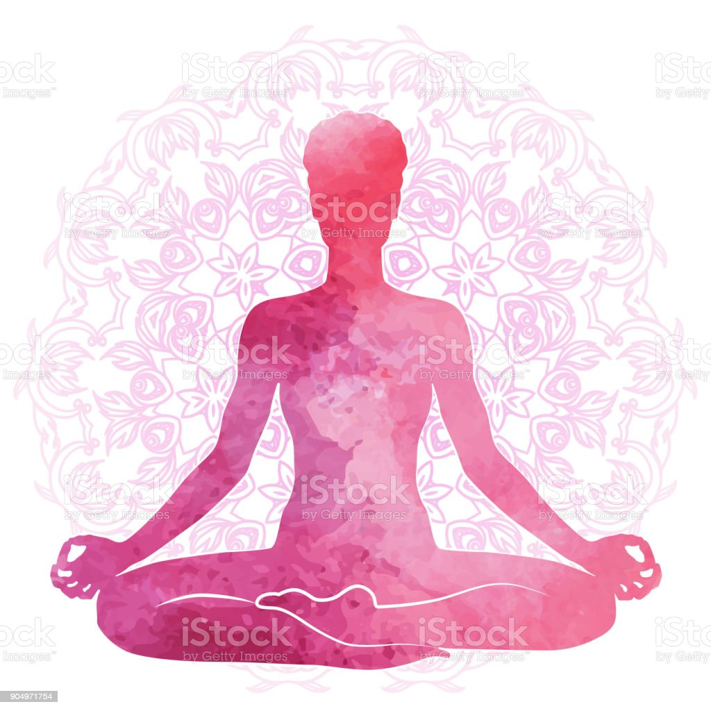 Practicing yoga, relaxation and meditation. Watercolor Silhouette vector art illustration