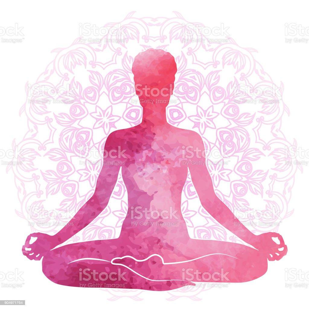 Practicar yoga, relajación y meditación. Silueta de acuarela - ilustración de arte vectorial