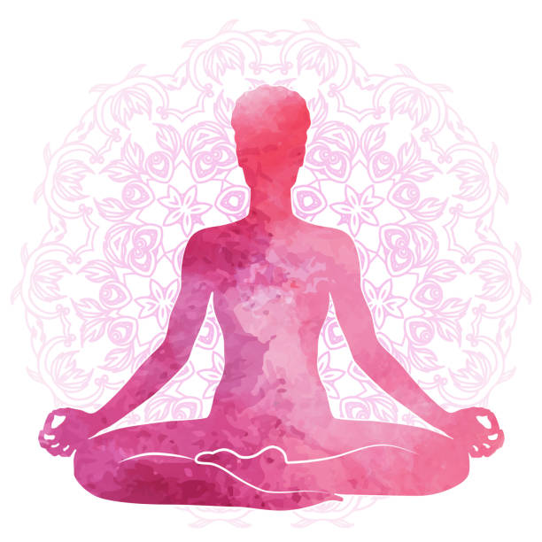 practicing yoga, relaxation and meditation. watercolor silhouette - yoga stock illustrations, clip art, cartoons, & icons