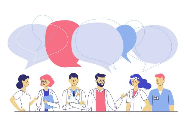 illustrazioni stock, clip art, cartoni animati e icone di tendenza di practitioner doctors young man and woman standing together and talking. consultation and diagnosis. - paziente