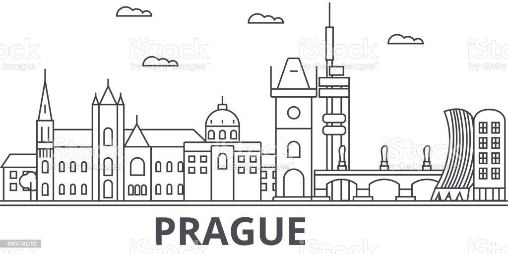 Prague architecture line skyline illustration. Linear vector cityscape with famous landmarks, city sights, design icons. Landscape wtih editable strokes