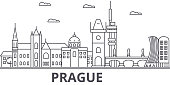 Prague architecture line skyline illustration. Linear vector cityscape with famous landmarks, city sights, design icons. Landscape wtih editable strokes