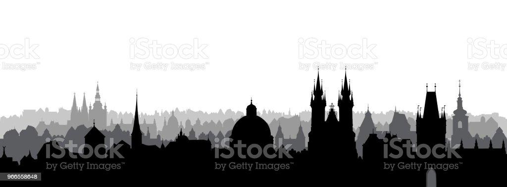 Prague city, Chezh. Urban skyline with cathedral landmark buildings silhouette. Travel Prague background