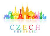 Prague, Czech Republic. Vector and Illustration