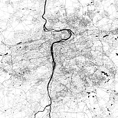 Topographic / Road map of Prague, Czechia.