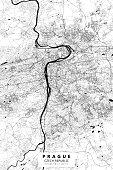 Poster Style Topographic / Road map of Prague, Czechia. Original map data is open data via © OpenStreetMap contributors
