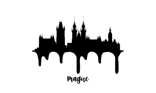 Prague Czechia black skyline silhouette vector illustration on white background with dripping ink effect.