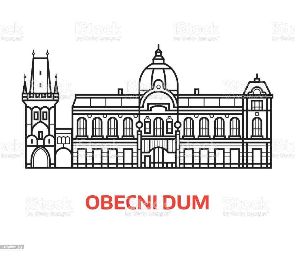 Prague Municipal House Line Emblem vector art illustration