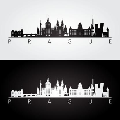 Prague skyline and landmarks silhouette, black and white design, vector illustration.