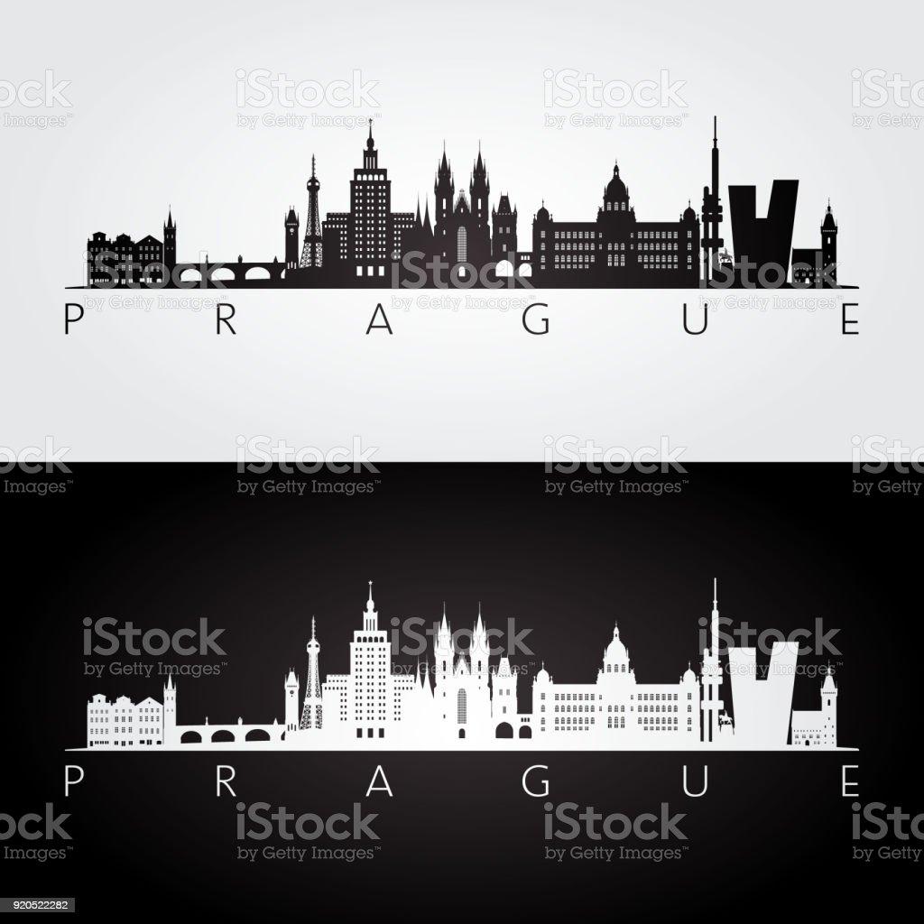 Prague skyline and landmarks silhouette, black and white design, vector illustration. vector art illustration