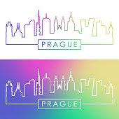 Prague skyline. Colorful linear style. Editable vector file.