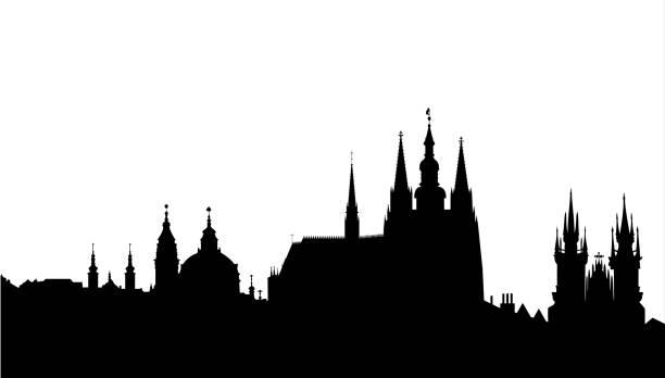 Prague skyline - famous landmark - vector vector art illustration