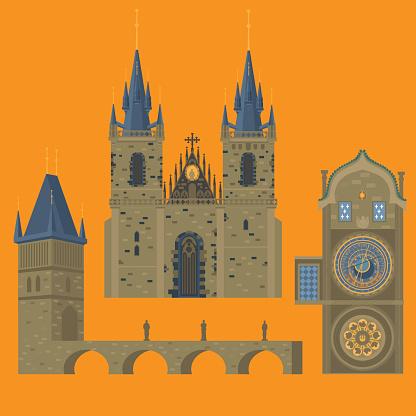 Prague town, Czech Republic.  Famous, tourists travel, popular routs