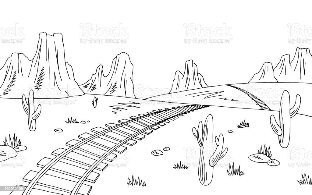 Ilustración de Pradera Del Ferrocarril Gráfico Negro Americano ...