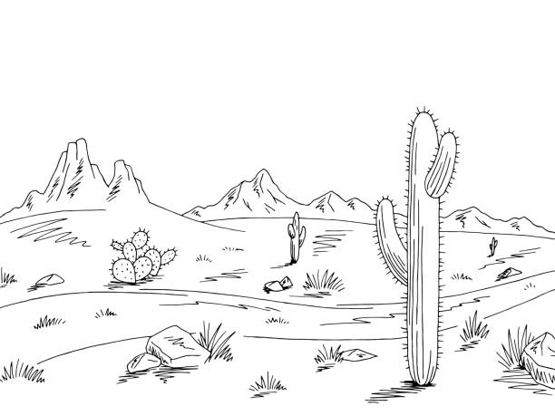 Prairie road graphic black white desert landscape sketch illustration vector vector art illustration