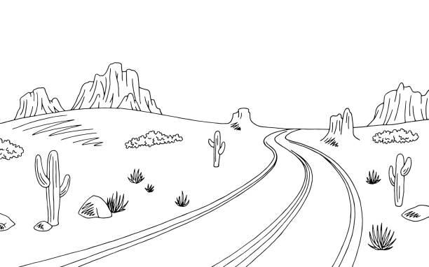 Top Prairie Road Graphic American Desert Black White