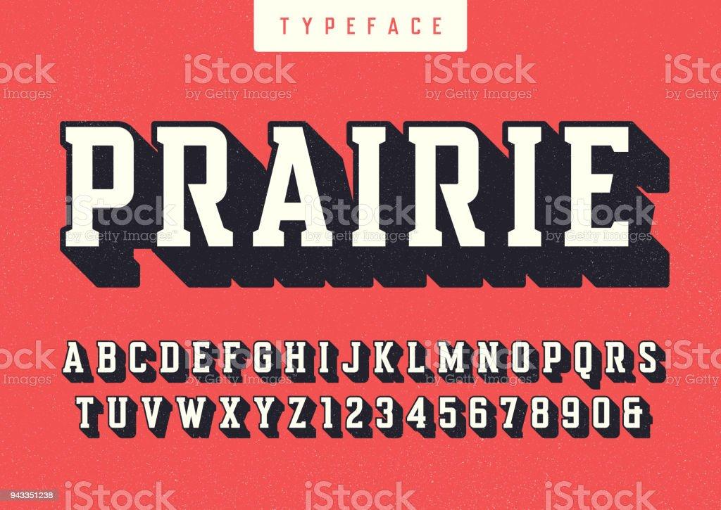 Fonte rétro condensée de prairie vector, lettres majuscules et nombres, alphabet, polices, typographie. - Illustration vectorielle