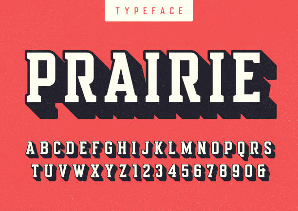 Prairie vector condensed retro typeface, uppercase letters and numbers, alphabet, font, typography. Prairie vector condensed retro typeface, uppercase letters and numbers, alphabet, font, typography. Global swatches block shape stock illustrations