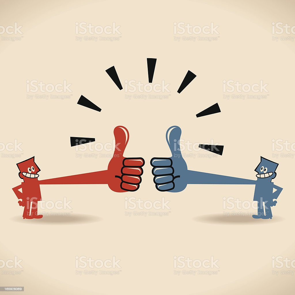 Praise each other, Two business people with thumbs up gesture royalty-free stock vector art