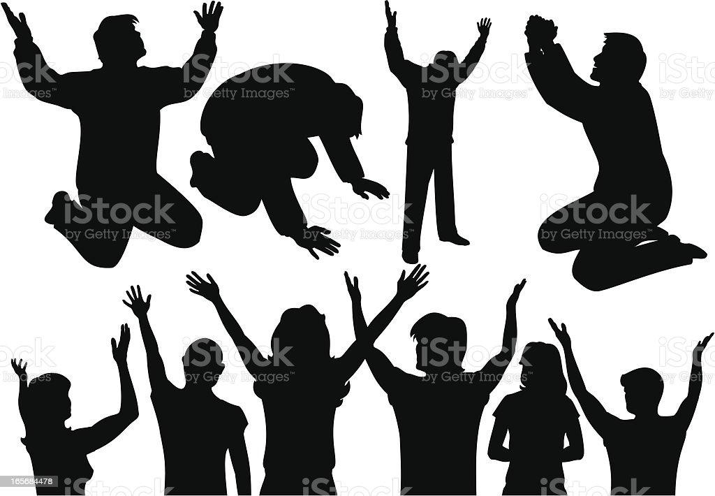 Praise & Prayer Silhouettes vector art illustration
