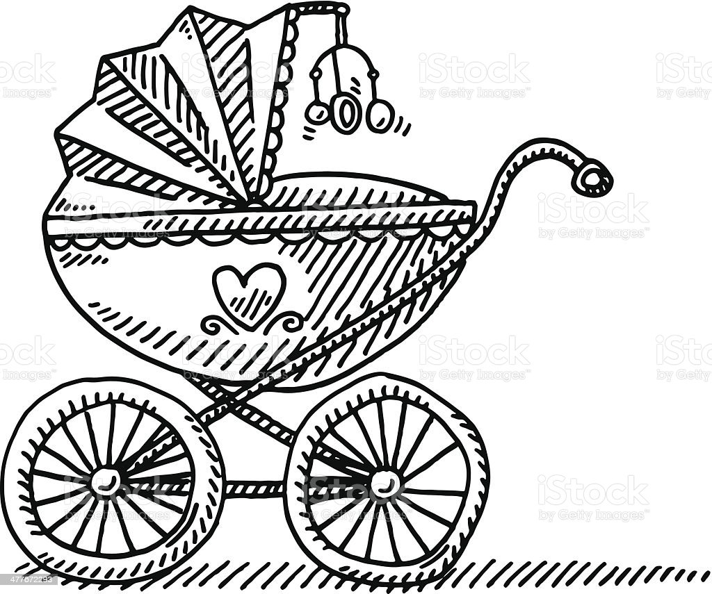Pram Baby Carriage Drawing vector art illustration