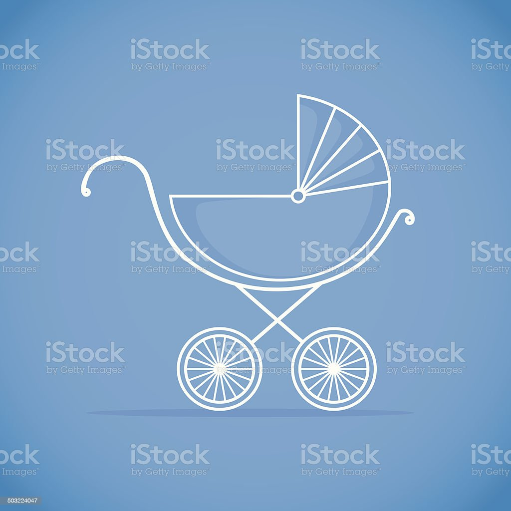 Pram for baby.  Vector illustration. Background vector art illustration