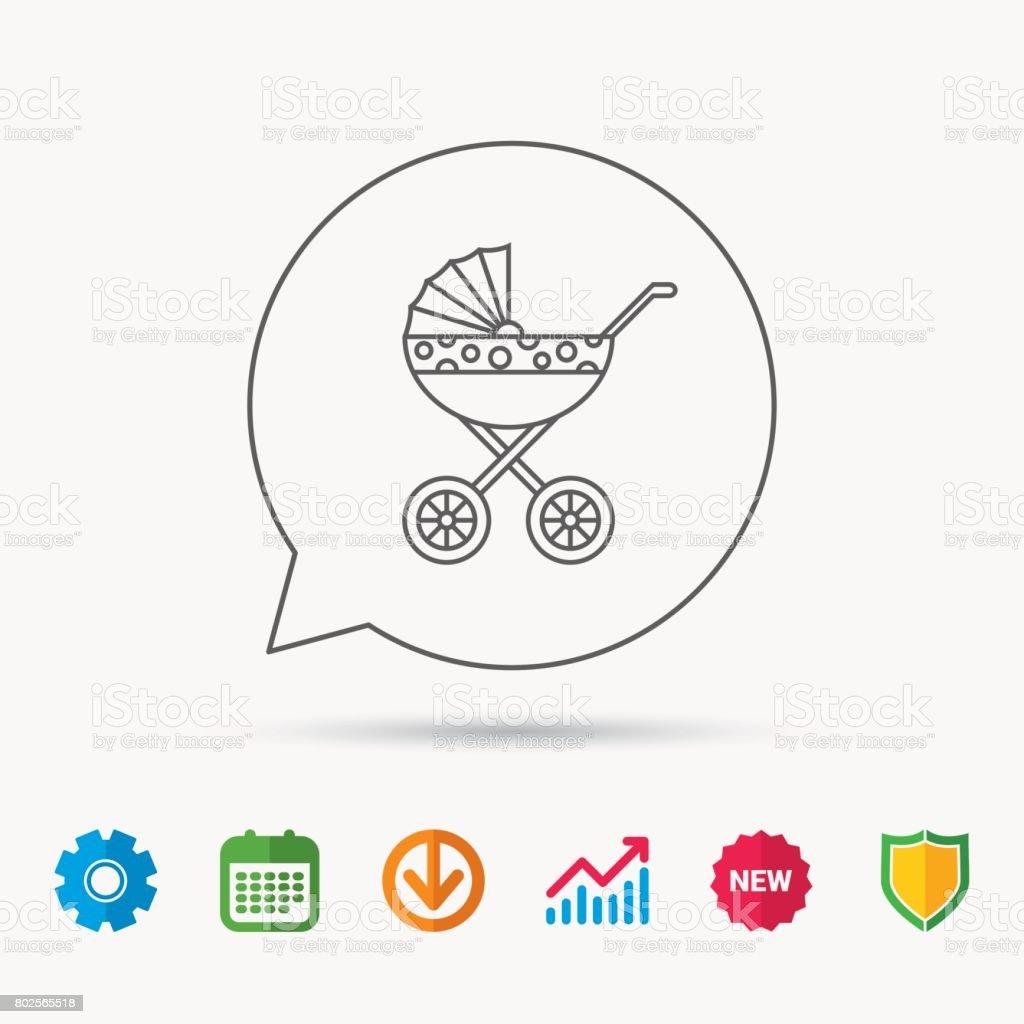 Pram icon. Newborn stroller sign. vector art illustration