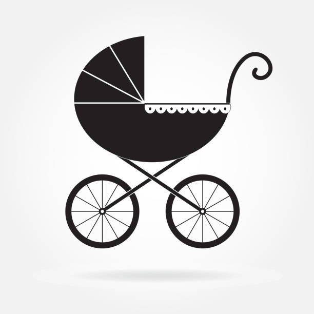 Pram icon or sign. Baby carriage in old style. Vector illustration. Pram icon or sign. Baby carriage in old style. Vector illustration. baby carriage stock illustrations