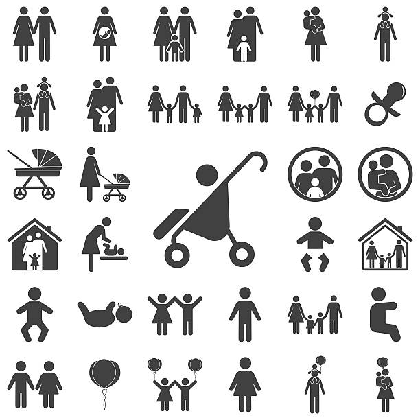 Pram icon Pram icon on the white background. Family set of icons baby carriage stock illustrations