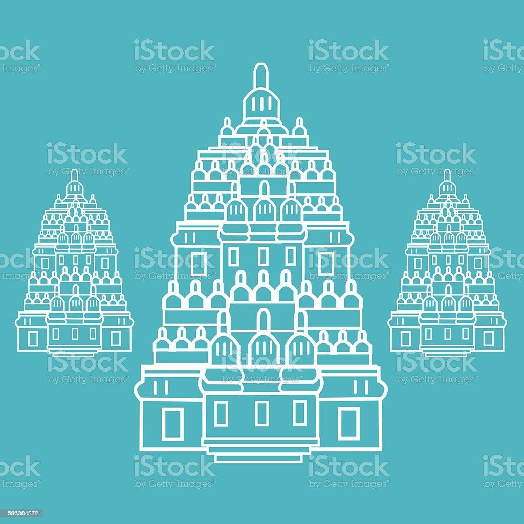 prambanan Hindu temple Indonesia illustration vector line art vector art illustration