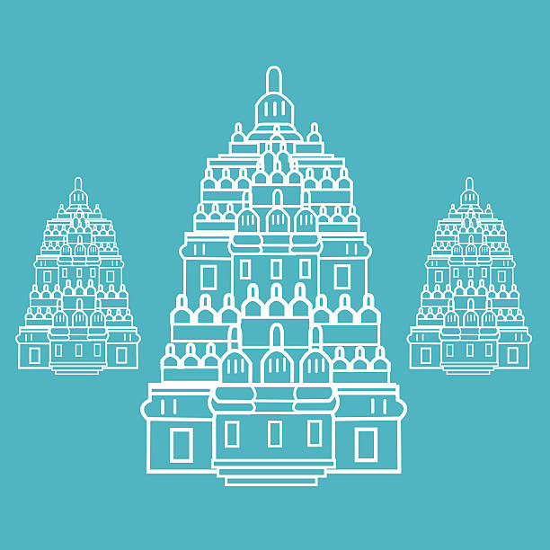 Line Art Jogja : Royalty free prambanan temple clip art vector images