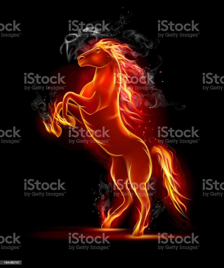 Prancing Black Fire Horse royalty-free prancing black fire horse stock vector art & more images of 2014