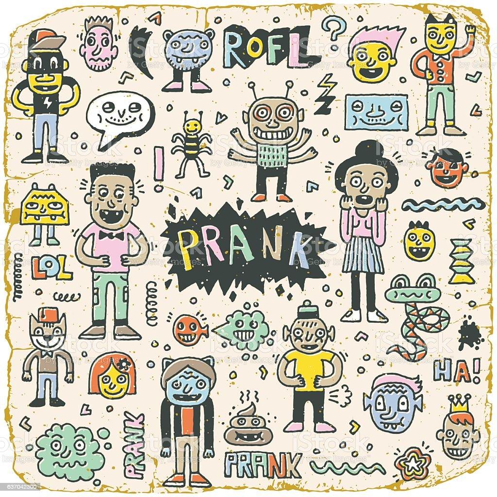 Prank Doodle Vintage Color Set Wacky Funny Characters Lizenzfreies